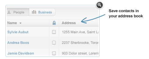 Save contacts in your address book